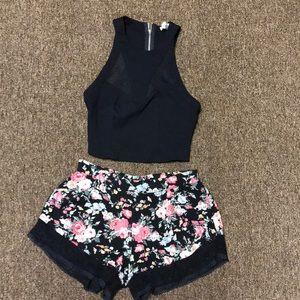 Rose patterned shorts